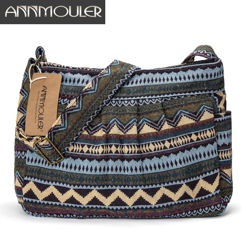 Annmouler Brand Women Crossbody Bag Vintage Large Capacity Shoulder Bag Multi-pocket Cotton Messenger Bag Hobo for Ladies