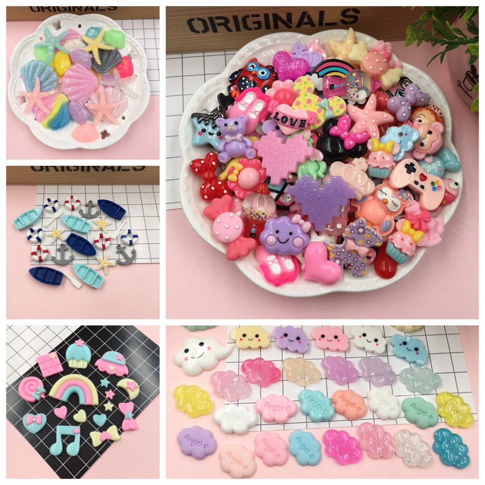 20pcs/lot Resin Kawaii Sets, Cheap Resin Flatback Cabochon For Hair Bow Center, Embellishment, Scrapbooking, DIY