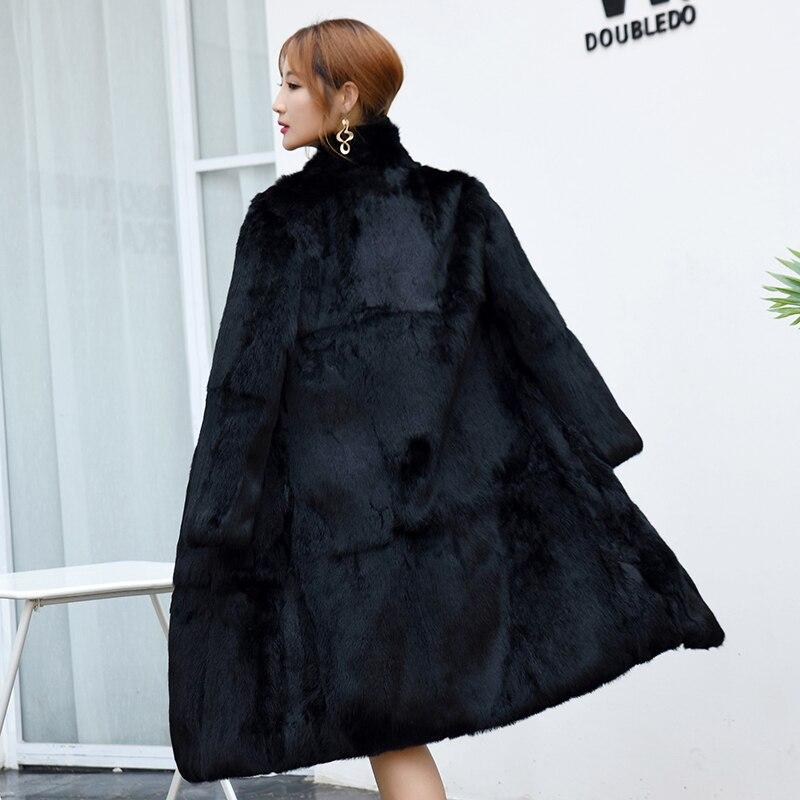 Real Genuine Natural Full Pelt Whole Skin Rabbit Fur Coat Women Fashion Stand Collar 100CM Length Jacket Ladies Overcoat Outwear