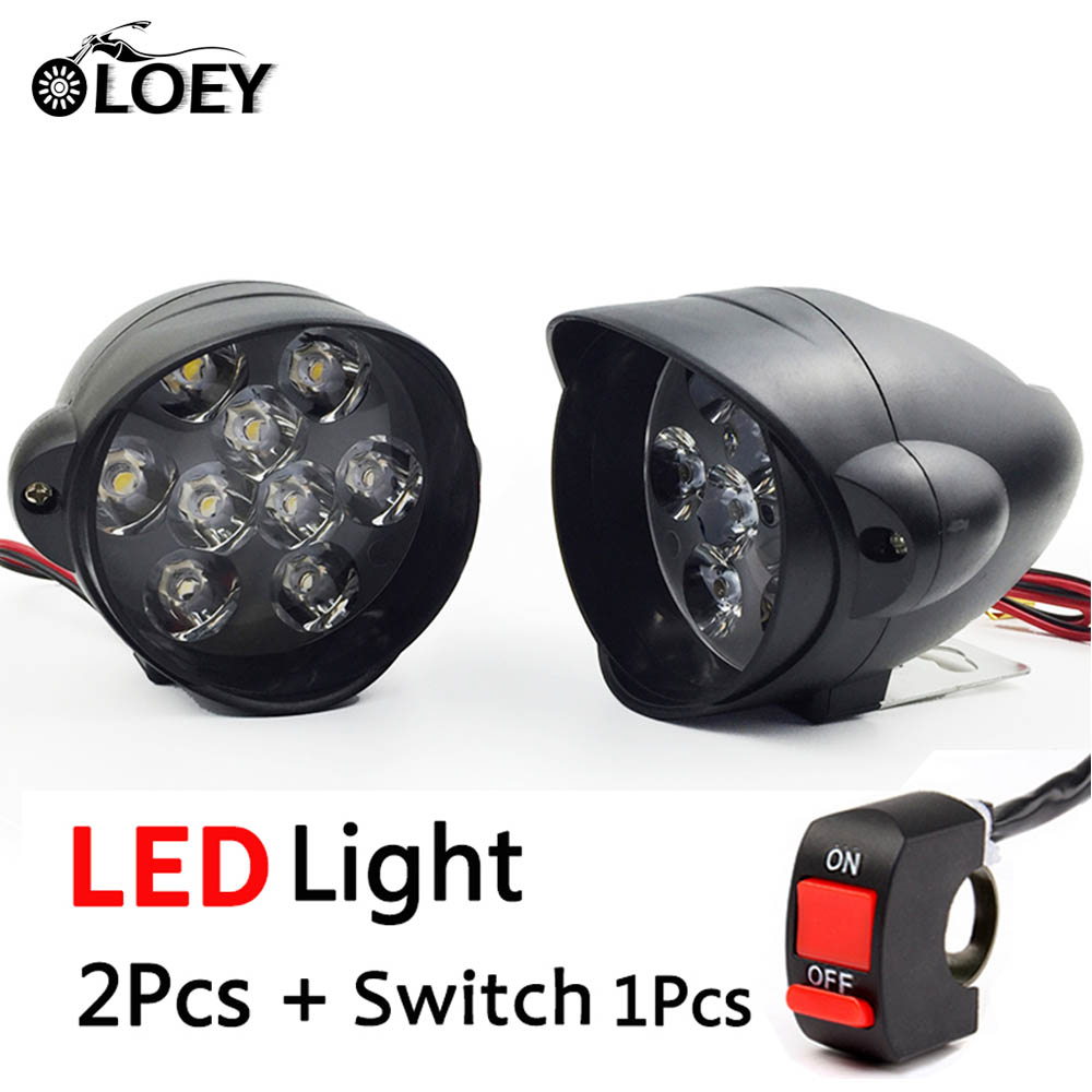 OLOEY 2PCS Universal LED Motorcycle Headlight 9 85V font b Lamp b font Moto Scooter Fog