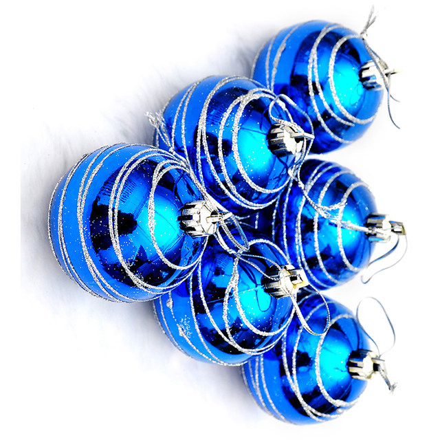 6pcs Christmas Tree Balls Blue Diameter 6cm Striped Color Drawing Decorations Ball Xmas Party Wedding Ornament 9