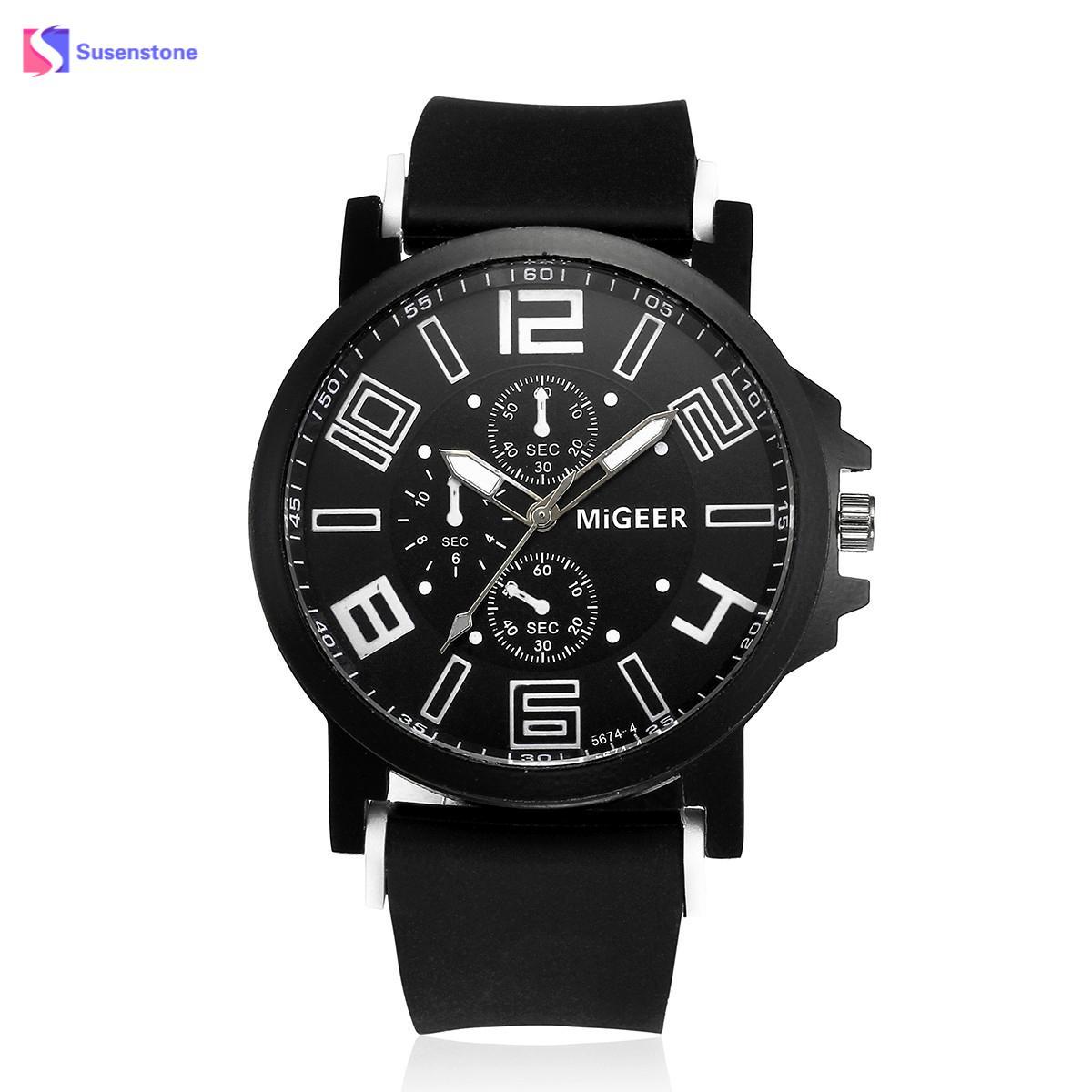 Для мужчин Лидер продаж силиконовый ремешок Спортивные Водонепроницаемый кварцевые часы наручные аналоговые часы Кварцевые наручные часы... ...