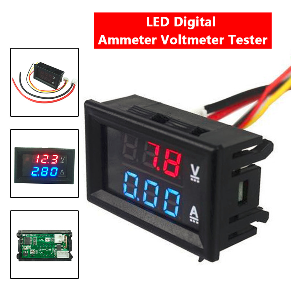 Free Shipping Mini Digital Voltmeter Ammeter DC 100V 10A Panel Amp Volt Voltage Current Meter Tester Blue Red Dual LED Display цена