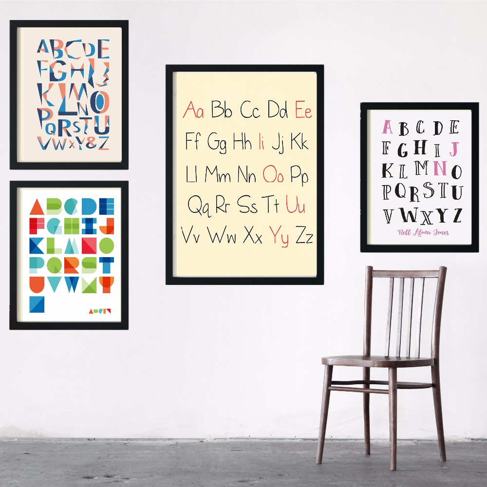 Letter Art Print.Us 5 99 Simple Alphabet Capital Letter Art Print Painting Poster Wall Pictures For Room Decoration Home Decor No Frame Silk Fabric In Painting