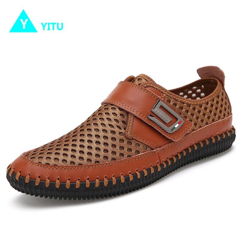 YITU Mens Summer Sneakers Outdoor Big Size Breathable Mesh Sports Shoes Men Trekking Anti-skid Comfortable Sneakers Zapatillas