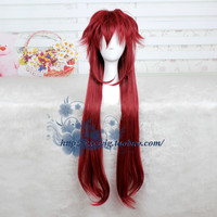 90cm Black Butler Grell Sutcliff cosplay wig Grell Sutcliff long red straight hair wig costumes free shipping