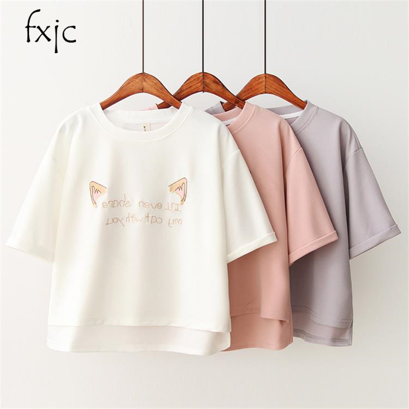 2018 summer women's new cat ears letter embroidery loose round neck short new short short front long   shirt   women's   T  -  shirt   femal