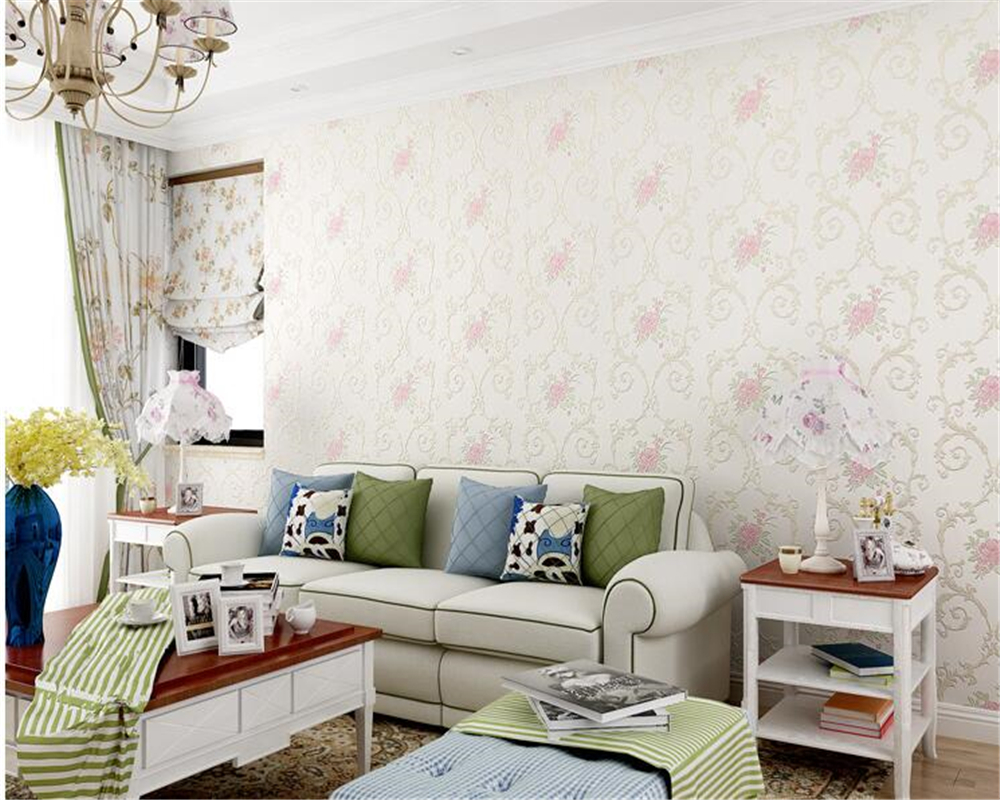 beibehang papel de parede wallpaper Fine fashion nonwovens classic TV bedroom background wall pastoral flowers 3d wallpaper beibehang pastoral nonwovens fashion