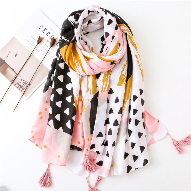 KYQIAO women autumn spring Spain style long hippie ethnic pink geometric patchwork   scarf   muffler   wraps   shawl