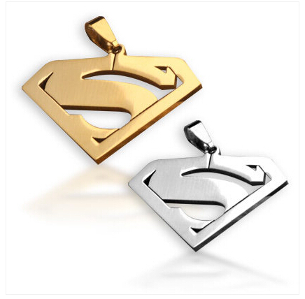 Free shipping Superman Titanium steel necklace Men