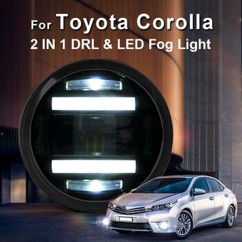 For Toyota Corolla led fog lights+LED DRL+turn signal lights Car Styling LED Daytime Running Lights LED fog lamps 2009-2014