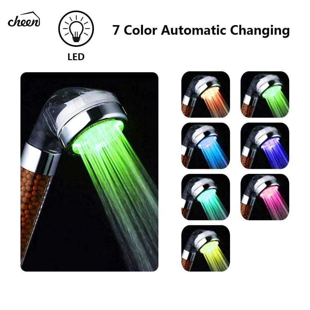Water Saving Shower Head LED Handheld 7 Color Changing Bathroom Spa Shower Head With Negative Ionic Double Filtered Shower Head