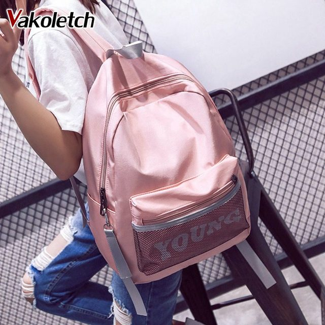 e833a7877112 US $10.95 40% OFF|Nylon Backpack for Teenage Girls Boys Large School Bags  Travel Bag Korean Waterproof Fabric Fashion Backpack for Women KL462-in ...