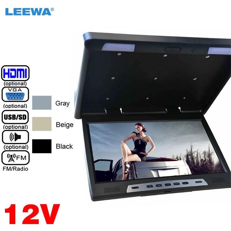 LEEWA 12 V 22 22 дюймов HD на крыше откидной сенсорный кнопочный автомобильный автобус ЖК монитор HDMI USB SD FM VGA динамик черный, серый, бежевый