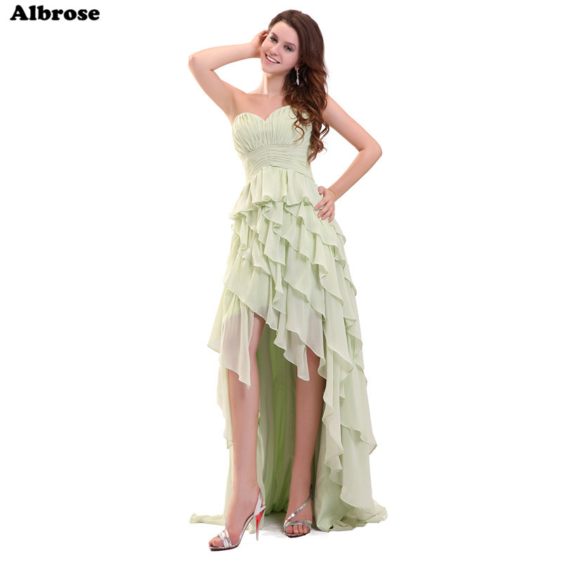 섹시한 높은 낮은 저녁 드레스 빛 녹색 쉬폰 계층 프릴 이브닝 드레스 긴 공식적인 드레스 세련된 댄스 파티 드레스 여성 가운