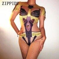 Sexy Yellow Nude Rhinestones Bodysuit Women S Stretch One Piece Outfit Bling Nightclub Sparkly Celebrate Costume