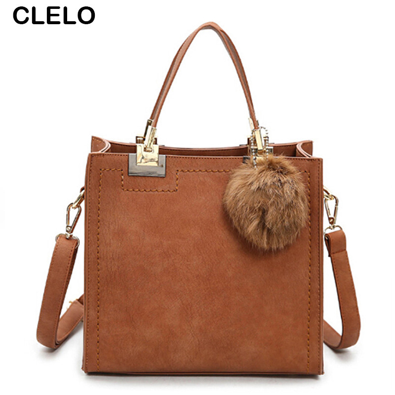 CLELO 2017 Autumn New Vintage Fashion Scrub Pu Leather Women Handbags Female Small Rivet Fur Ball Designer Bag Shoulder Bags new 2017 pu leather doctor bag women vintage casual rivet handbags for women designer small bag with lock top handle bags totes
