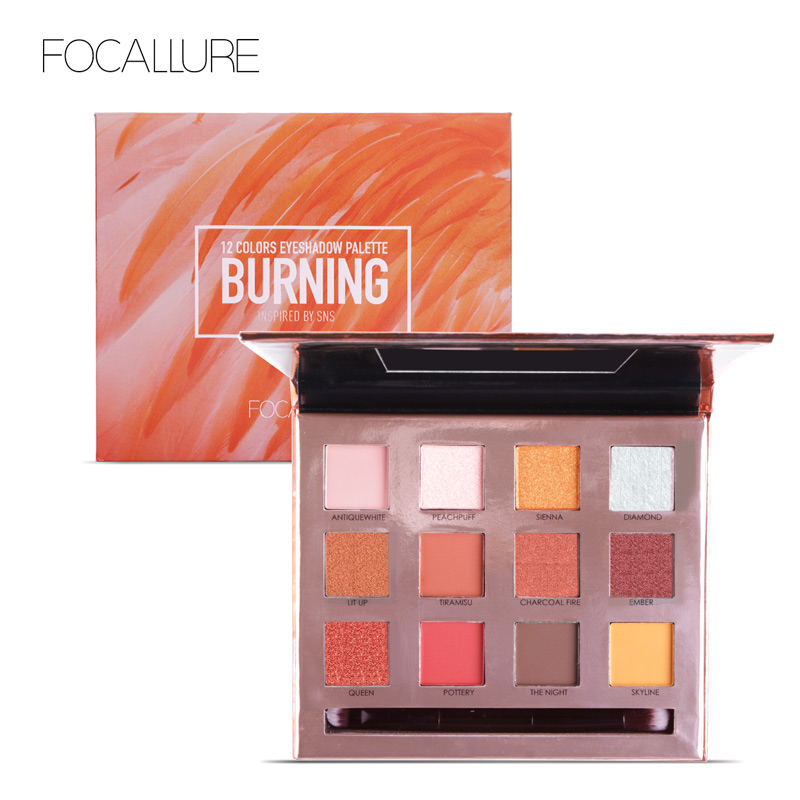 FOCALLURE 12 Colors Eyeshadow High Quality Smooth Soft Shimmer Glitter Palette Easy Match Your Eyes недорго, оригинальная цена