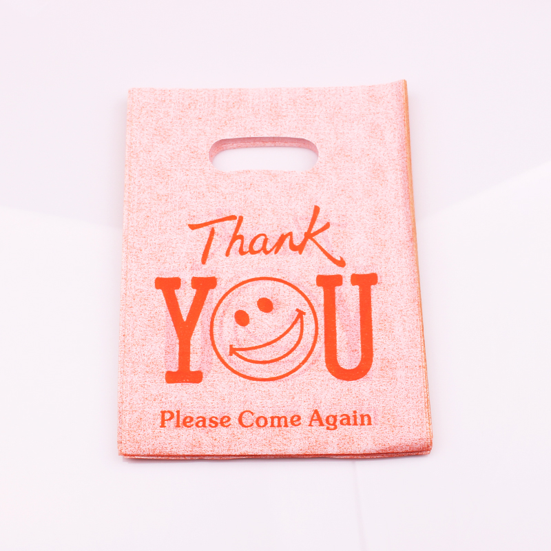 100pcs/lot Thank You Printed Orange Plastic Gift Bags Shopping Packaging Bags Festival Gift Package 15X20cm