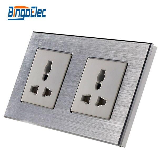 цена на Double 13A multifunction power socket,silver aluminum panel wall socket ,Hot Sale