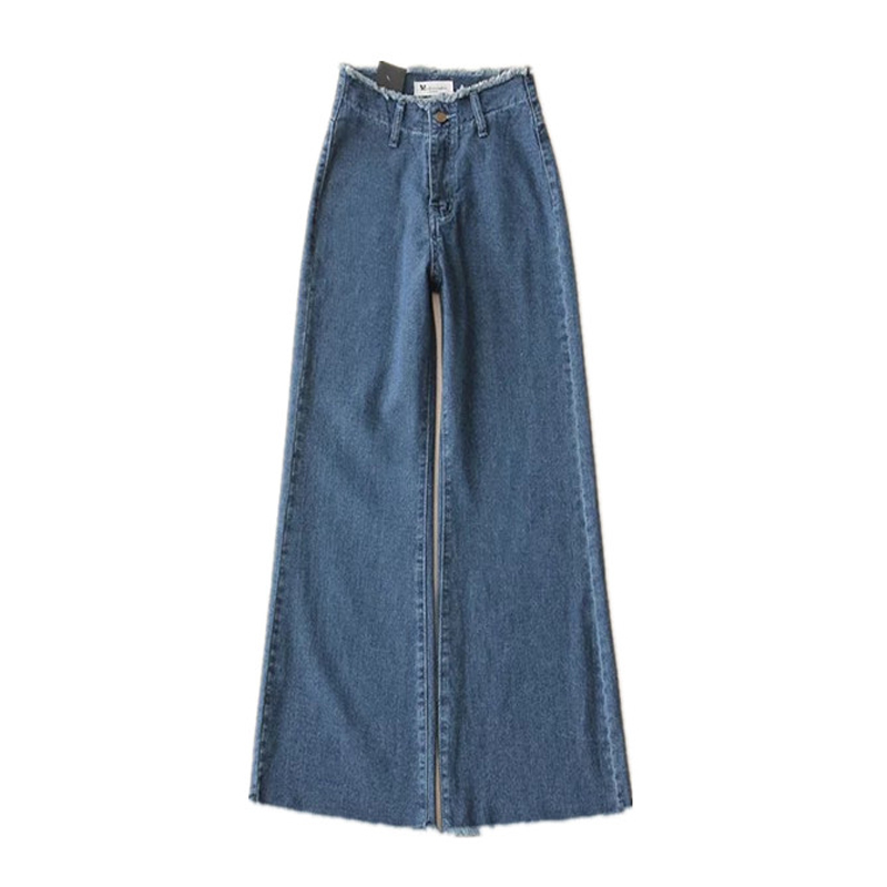 2017 Chinese Retro High Waist Flare Jeans Women Loose Wide Leg Edging Jeans Trousers A1003