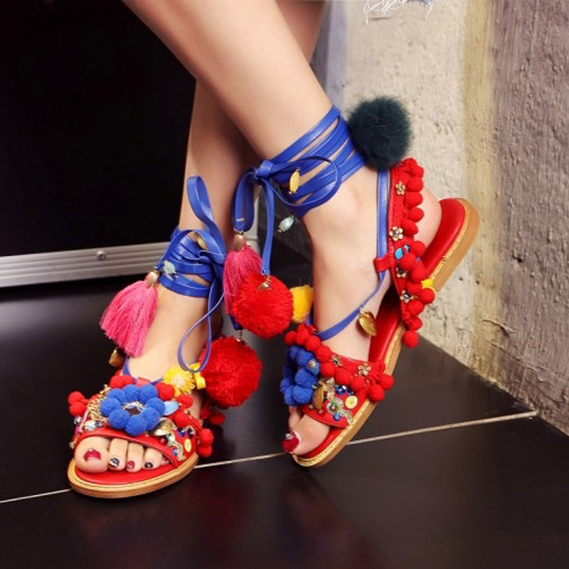 Ethnic Style Women Lace-Up Colorful Flower Crystal Pompoms Fringe Sandals Sweet Flat Heel Tassel Cross Strap Summer Sandal Shoes sweet style lace up artificial fibre bowknot decorated translucent lace hem women s pajamas