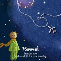 Herwish Женские Подвески самолеты ожерелье s 925 серебро Маленький принц звено цепи ожерелье милые корейские модные ювелирные изделия
