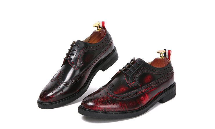 New Style Men Fashion Round Toe Genuine Leather Red Carved Brogue Shoes Male Handmade All Season Thick Bottom Dress Shoes New Style Men Fashion Round Toe Genuine Leather Red Carved Brogue Shoes Male Handmade All Season Thick Bottom Dress Shoes