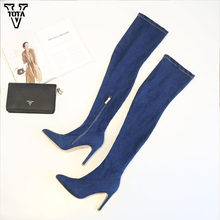 VTOTA Fashion Over The Knee Boots For Women Denim High Heels Boots Women Sexy Pointed Toe Thin High N21(China)