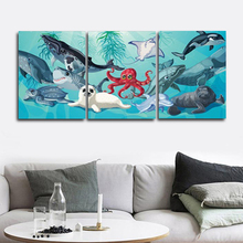 Laeacco Canvas Calligraphy Painting 3 Panel Cartoon Octopus Seal Sea Animals Posters and Prints Wall Art Living Room Home Decor