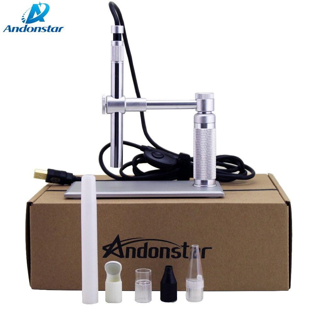 2MP USB Andonstar Microscópio Digital 500x8 LED usb Microscópio de Vídeo Suporte Da Câmara Microscopia eletrônica lupa usb WIFI Módulo