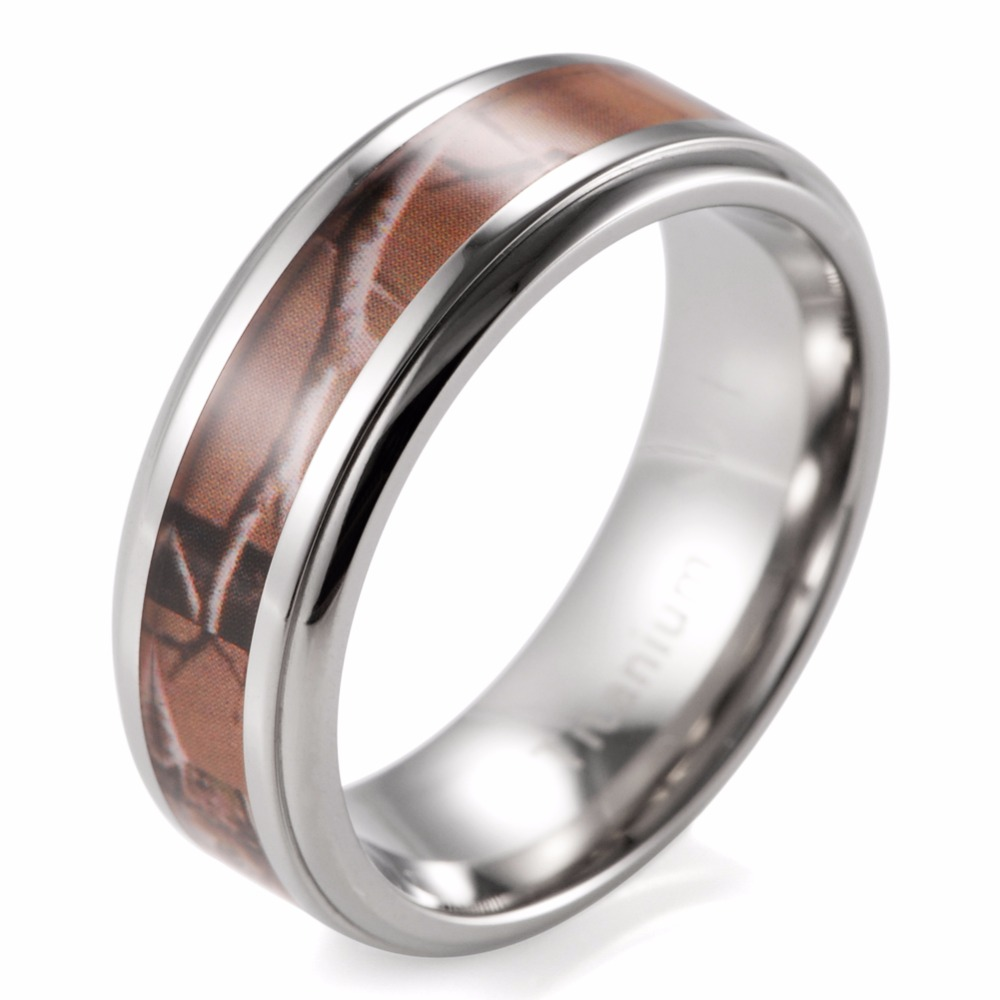 Realtree Wedding Rings: Men's 8mm Titanium Edged Realtree AP Camouflage Ring Camo