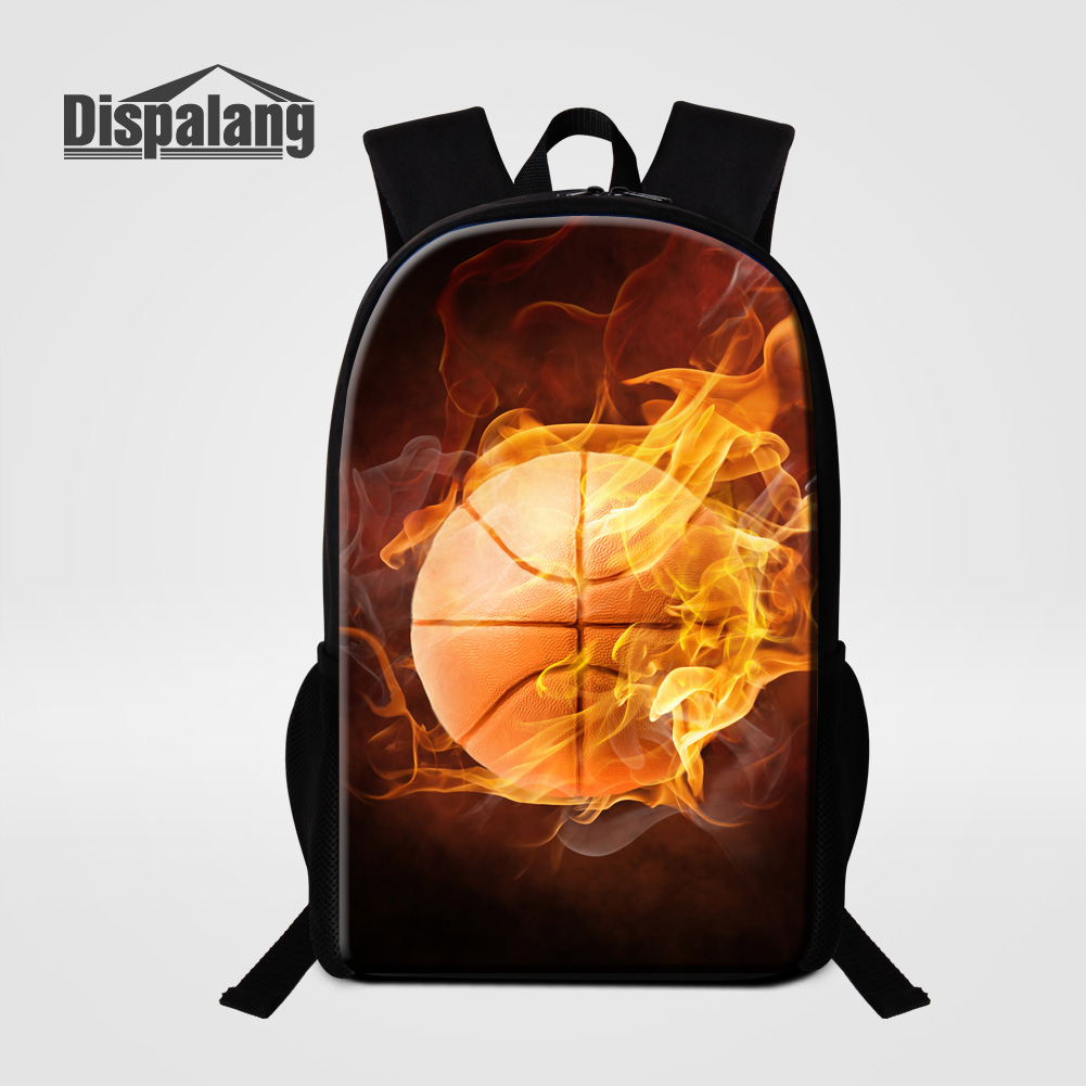 Dispalang 3D Printing Basketballs School Bags For Boys Men Casual Daypacks Soccers Backpack For Primary Student Bookbag Mochilas