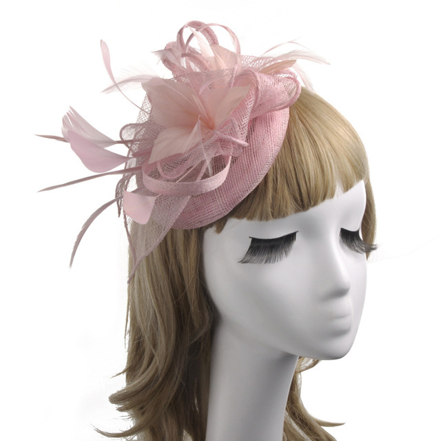 b2f8e730 Hotselling Sinamay Feather Fascinator For WOmen Cocktail Dinner Banquet  Ladies Feather Hair Clips Wedding Hat Party Headwear