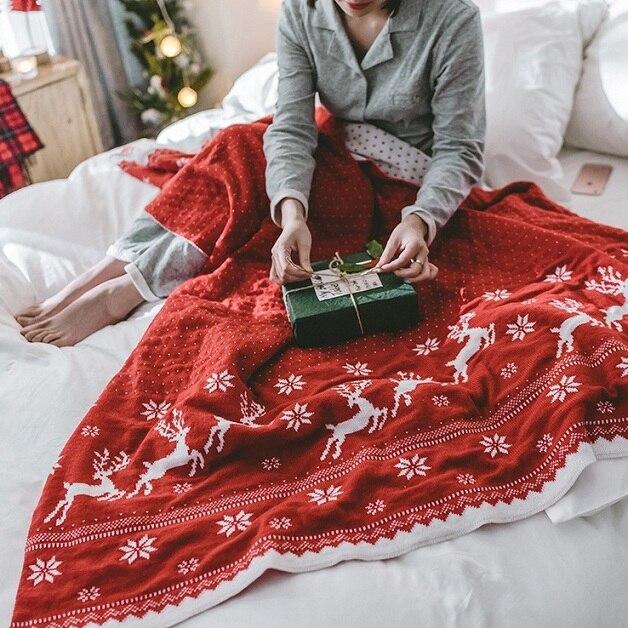 Mylb Style Nordique Cerfs De Noël en Tricot Couverture Fil Couverture Drap Climatisation Jeter Couvertures sur Canapé