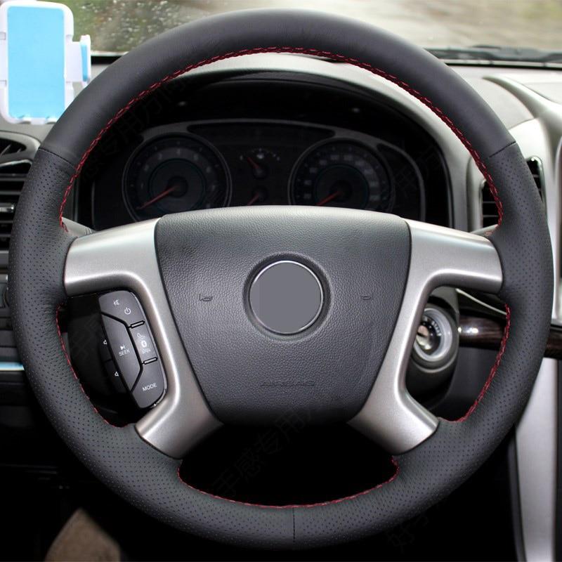 Black Artificial Leather Car Steering Wheel Cover for Chevrolet Captiva 2007 2014 Silverado GMC Sierra 2007