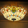 Luzes De Teto de Vidro Manchado Estilo Mediterrâneo Tiffany-estilo Quarto Luzes Decorativas DIA 50 CM H 19 CM