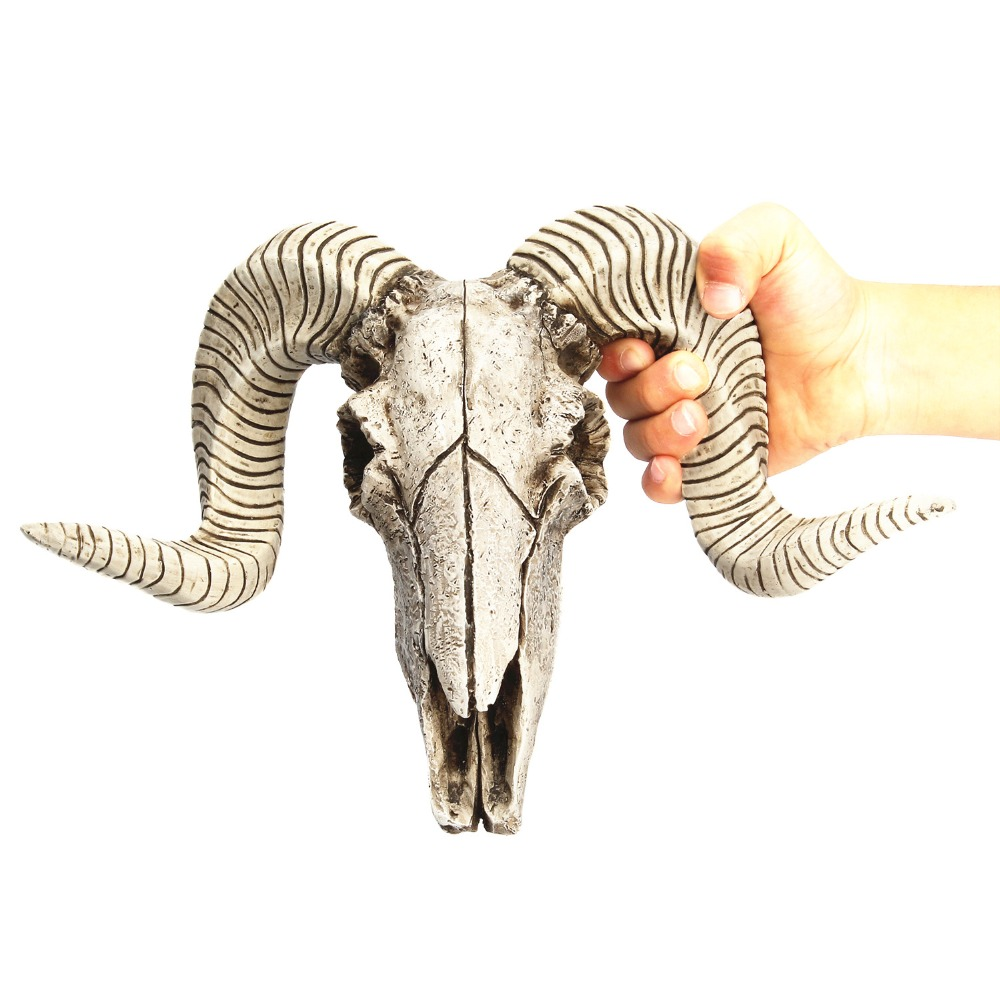 Creative 3D Animal Longhorn Sculpture Resin Sheep Head Skull Head Wall Hanging Figurines Crafts Horns Home Decor Ornaments
