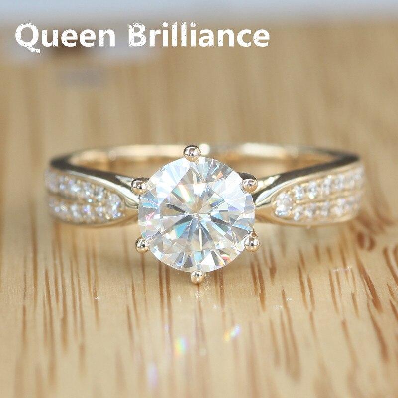 Queen блеск натуральной 14 К 585 gold 1.2 ct Обручение и свадьбы муассанит  кольцо с бриллиантом с настоящий бриллиант Акценты для для женщин c0e88827058