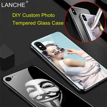 LANCHE Customized Tempered Glass Phone Cases For iPhone X 7 XR XS Max 8 6 6S Plus Case DIY Printed Photo Logo Unique Phone Cover(China)