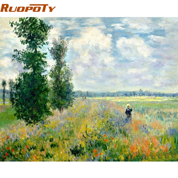RUOPOTY Frame Picture Field Landscape DIY Painting By Numbers Hand painted Oil Painting Modern Wall Art Picture For Home Decors ruopoty frame mountain lake diy painting by numbers landscape handpainted oil painting modern home wall art canvas painting art