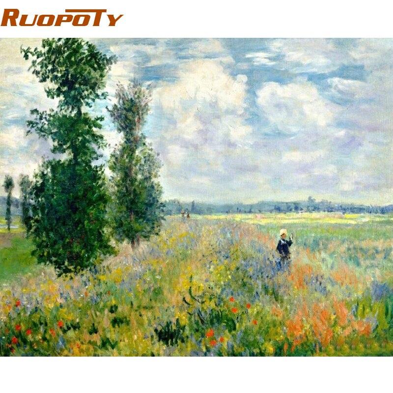 RUOPOTY marco campo paisaje DIY pintura por números pintura al óleo pintada a mano moderno arte de la pared para decoraciones caseras