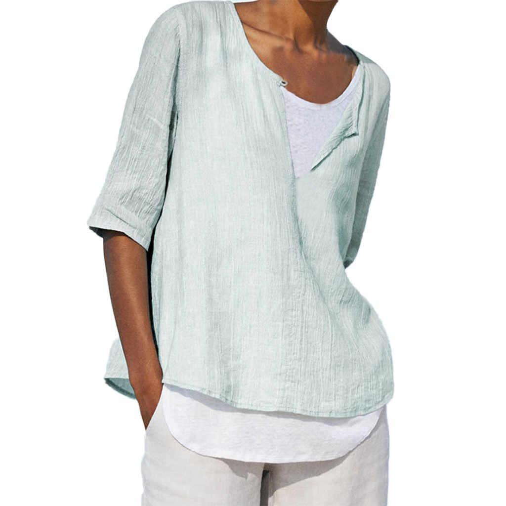 ヴィンテージ Tシャツ女性のリネンカジュアルボタン O ネックプラスサイズ固体シフォンシャツチュニックトップス Dracarys 女性服 2019