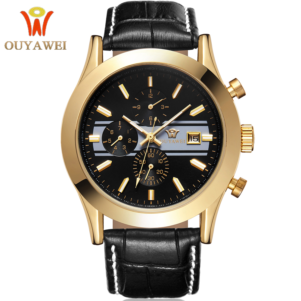 OUYAWEI Fashion Casual Male Clock Genuine Leather Strap Golden Case Men Luxury Brand Automatic Mechanical Watches Date Day Saat starking men skeleton automatic mechanical luxury brand sapphire two tone gold case genuine leather strap wristwatch male clock