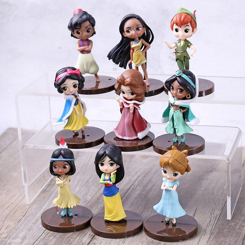9pcs/set Q Posket princesses figure Toys Dolls Tiana Snow White Rapunzel Ariel Cinderella Belle Aurore Figures toy gift