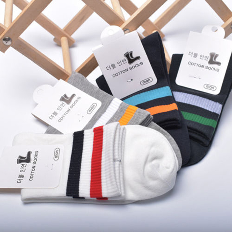 1 Pairs Men's Sport Socks Soft Breathable Cotton Basketball Outdoor Socks 5 Styles