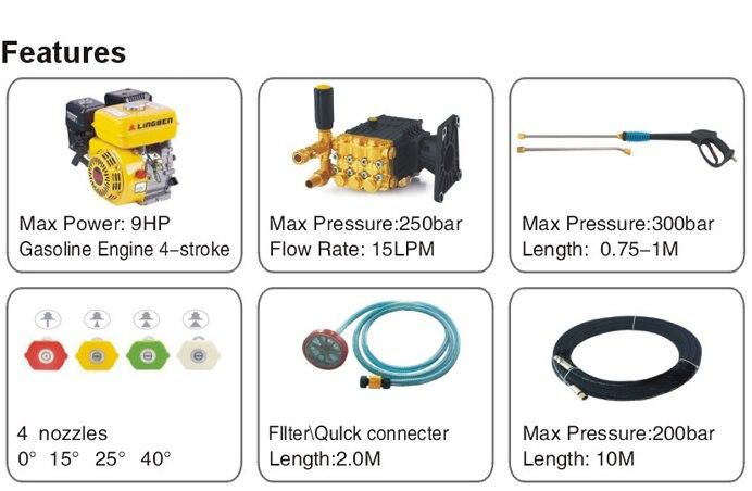 9HP gasoline/diesel engine powered high pressure washer plunger pump