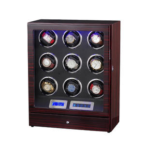 Watch Winder-Box Wooden with 9 Led Lights Motor Control Bobbin 0 New Version