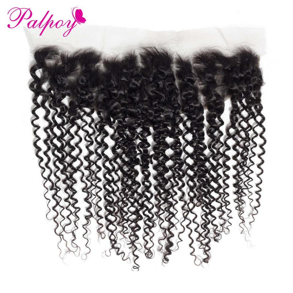 PALPOY перуанские вьющиеся волосы человеческие волосы кружева лобовое Закрытие 13x4 с Детские волосы натуральный Коло бесплатная часть швейцарское кружево бесплатная доставка