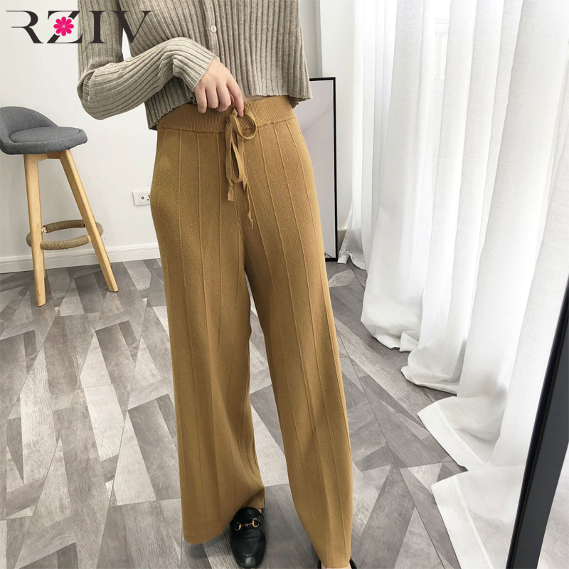 RZIV 2018 Autumn Women's   Pants   Casual Solid Color Loose Knit   Wide     Leg     Pants